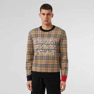 Burberry ogo Check Woo Cotton Jacquard Sweater