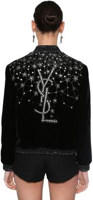 Saint Laurent Embroidered Velvet Bomber Jacket