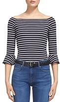 Whistles Stripe Ruffle Cuff Bardot Top