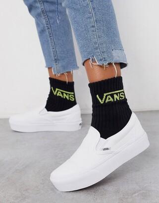 Vans Classic Slip-On platform triple white trainers