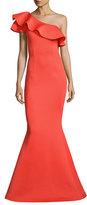 Jovani One-Shoulder Ruffle Mermaid Gown, Orange