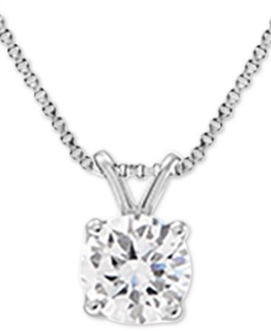 "Grown With Love Lab Grown Diamond Solitaire 18"" Pendant Necklace (1-1/2 ct. t.w.) in 14k White Gold"