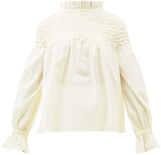 Merlette New York Majorelle Smocked Cotton-lawn Blouse - Light Yellow