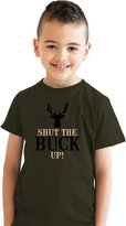 Crazy Dog T-shirts Crazy Dog Tshirts Youth Shut The Buck Up Funny Deer Antler Hunting T shirt for Kids -M