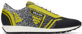 Prada Yellow and Black Knit Sport Sneakers