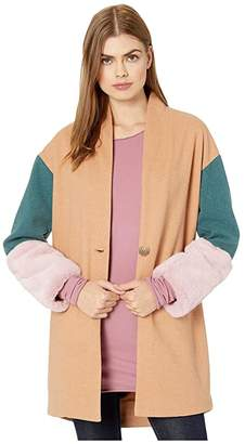 Blank NYC Color Block Cocoon Coat with Faux Fur Cuffs in Out Of Office