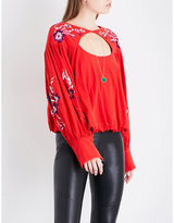 Free People Lita embroidered cotton and linen-blend top