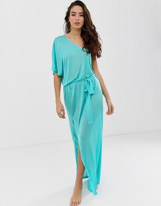 Asos Design DESIGN one shoulder beach slinky maxi dress-Blue