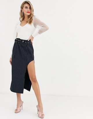 Skylar Rose pencil midi skirt with high split in pinstripe