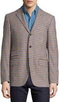 Luciano Barbera Check Three-Button Wool Jacket, Blue/Yellow