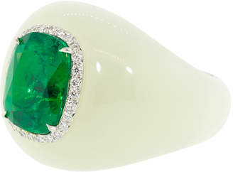 Saboo Fine Jewels White Jade Ring with Emerald Center