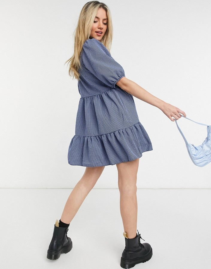 Thumbnail for your product : New Look puff sleeve mini babydoll smock dress in blue check