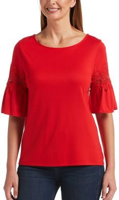Rafaella Women's Lace-Trim Bell Sleeve Top