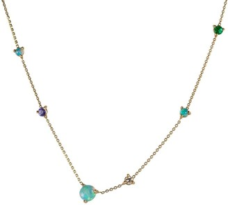 WWAKE Linear Opal, Emerald, Tanzanite Necklace