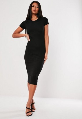 Missguided Petite Black Basic Crew Neck Bodycon Midi Dress