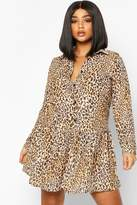 boohoo Plus Leopard Print Woven Smock Dress