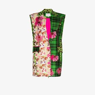 Shuting Qiu Womens Green Contrast Panel Sleeveless Blazer