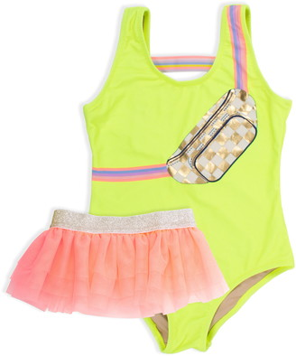 Shade Critters Citron Fanny Pack One-Piece Swimsuit & Tulle Skirt Set