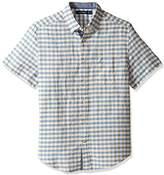 Nautica Men's Short Sleeve Print Linen Button Down Shirt