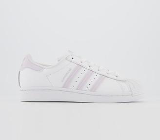 adidas Superstar Trainers White Purple Tint Silver Metallic