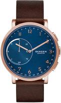 Skagen Unisex Hagen Brown Leather Strap Hybrid Smart Watch 42mm SKT1103