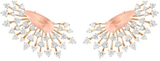 Hueb Luminus 18K Rose Gold, Diamond & Rose Quartz Earrings