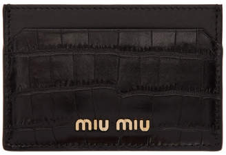 Miu Miu Black Croc Card Holder