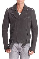 Pierre Balmain Asymmetrical Zip-Front Leather Jacket
