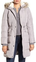 Kenneth Cole New York Quilted Down & Feather Coat with Faux Fur Trim Hood