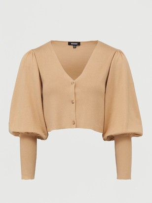 Missguided MissguidedBalloon Sleeve Cropped Cardigan - Tan