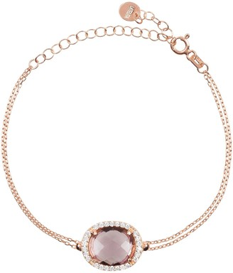 Latelita Beatrice Oval Gemstone Bracelet Rose Gold Amethyst Hydro