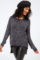 francesca's Alexandria Contrast Zipper Sweater - Navy