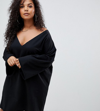 Asos DESIGN Curve v front and back raw edged sweat dress in black