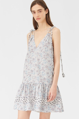 Rebecca Taylor Cactus Flower Print Mix Tank Dress