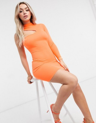 I SAW IT FIRST high-neck one-shoulder bodycon dress in orange