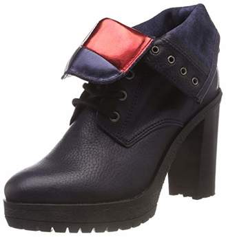 Tommy Jeans Hilfiger Denim Women's Big Flag Lace Up Heeled Boot Combat (Black 990)