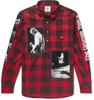 Takahiromiyashita Thesoloist. Button-Down Collar Appliqued Checked Cotton Half-Placket Shirt