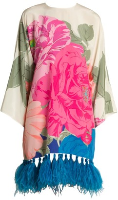 Valentino Macro Camelia Feather-Trimmed Silk Crepe De Chine Tunic