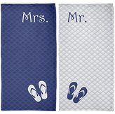 Old Glory Mr. & Mrs. Honeymoon Navy All Over Beach Towel Set