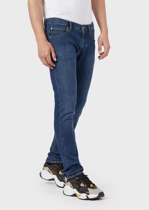 Emporio Armani Extra-Slim J10 Jeans In Faded Comfort Denim