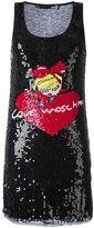 Love Moschino sequinned logo motif dress