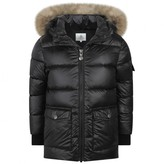 Pyrenex PyrenexBlack Authentic Down Padded Coat With Fur Trim