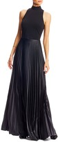 Nicole Miller Mock Neck Pleated Gown