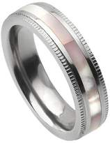 Journee Collection Men's Women's Titanium Band with Abalone Inlay - Silver (5mm)