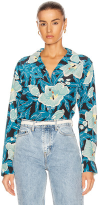 Equipment Amaia Long Sleeve Top in Saxony Blue Multi | FWRD