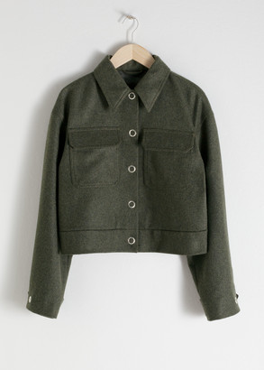 And other stories Cropped Wool Blend Workwear Jacket