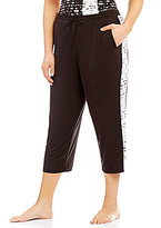 DKNY Plus Lace-Print Colorblocked Jersey Cropped Lounge Jogger Pants