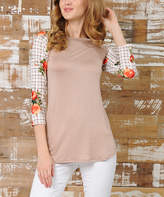 Celeste Mocha & Peach Plaid & Floral-Sleeve Raglan Top