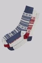 Moss Bros Grey Fairisle 3 Pack Socks