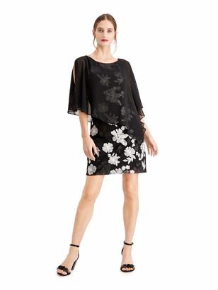 Connected Apparel Womens Black Floral Long Sleeve Jewel Neck Short Sheath Cocktail Dress UK Size:16